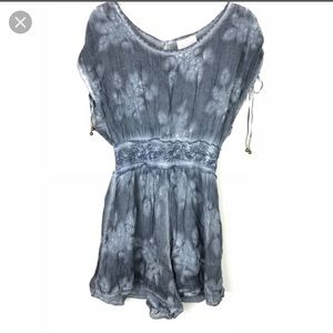 Free People blue Juliet tie-dye romper